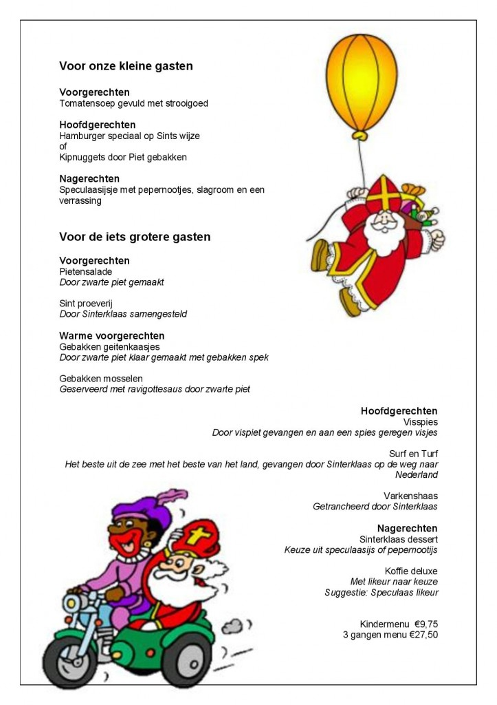 Sinterklaasmenu 2014